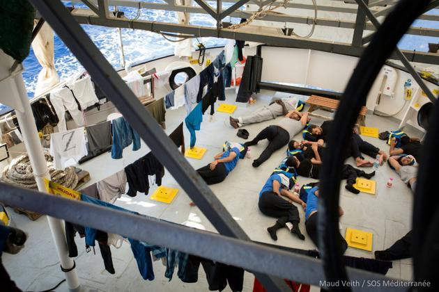 Photo prise le 24 septembre 2018 sur le navire humanitaire Aquarius  [Maud VEITH / SOS MEDITERRANEE/AFP]