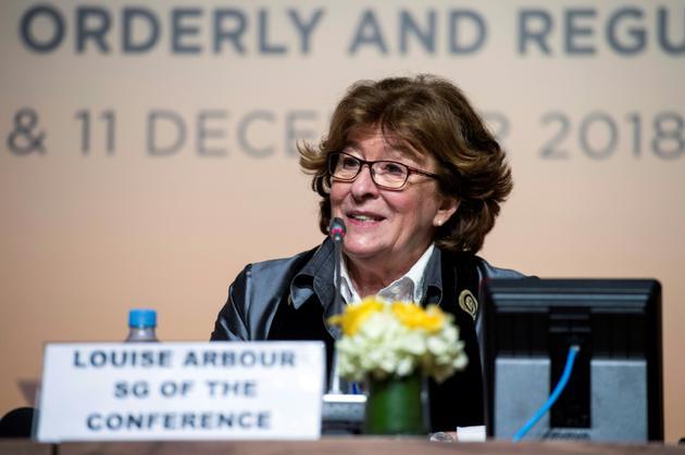 Louise Arbour, la représentante spéciale de l'ONU pour les migrations, lors d'une conférence de presse le 9 décembre 2018 à Marrakech, au Maroc [FADEL SENNA / AFP]