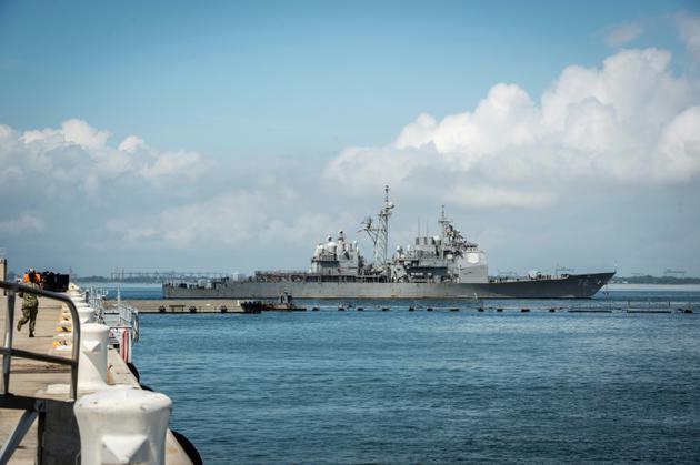 Le destroyer USS Mahan quitte la base navale de Norfolk (Virginie), le 10 septembre 2018 [Caledon Rabbipal / Navy Office of Information/AFP]
