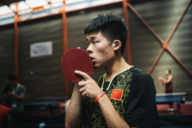 Le pongiste chinois Zhang Nan, photo du 6 août 2018 [Lucas Barioulet / AFP]