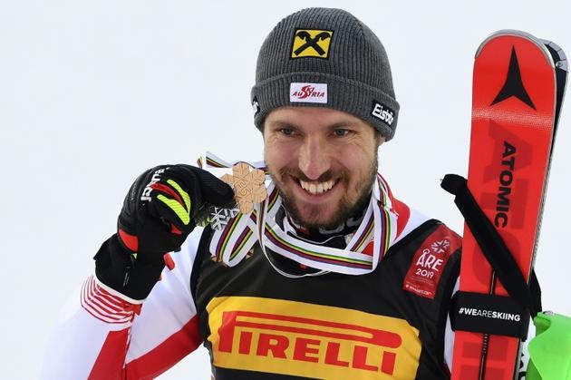 L'Autrichien Marcel Hirscher vainqueur du slalom lors des Mondiaux d'Are le 17 février 2019 [Jonathan NACKSTRAND / AFP]