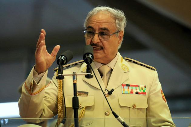 Le maréchal Khalifa Haftar, le 7 mai 2018 à Benghazi en Libye [Abdullah DOMA / AFP/Archives]