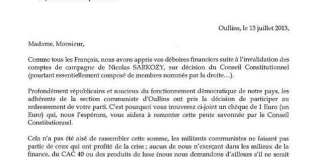 Le PCF fait un don de 1 euro à l'UMP pour améliorer ses finances