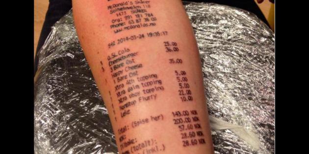 Il se fait tatouer son addition du mcdonald 39 s sur le bras for Penis and vagina tattoos