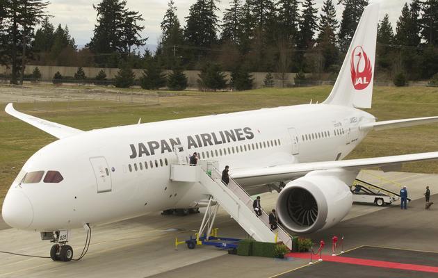 Un Boeing 787 Dreamliner de la compagnie Japan Airline, le 26 mars 2012 à Everett (Washington) [Stephen Brashear / Getty Images/AFP/Archives]