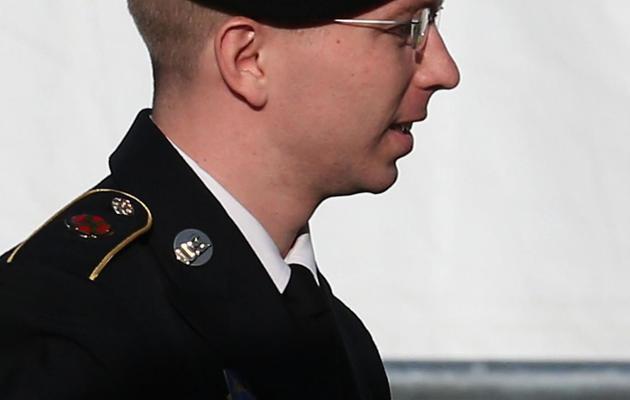 Bradley Manning, ex-analyste du renseignement en Irak, à l'origine des informations de WikiLeaks le 28 novembre 2012 dans le Maryland [Mark Wilson / Getty Images/AFP/Archives]