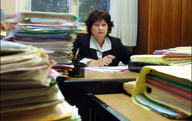 Marie-Odile Bertella-Geffroy le 19 septembre 2001 dans son bureau du palais de justice à Paris [Thomas Coex / AFP/Archives]
