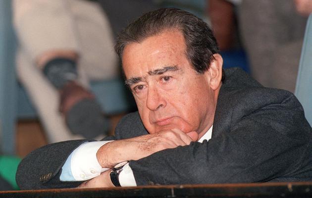 Jean-Luc Lagardère, ancien patron du groupe éponyme, le 22 février 1997 à Bucarest [Gerard Fouet / AFP/Archives]