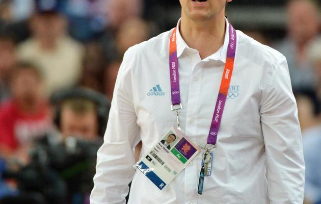 L'entraîneur de l'équipe de France féminine de basket Pierre Vincent lors des jeux Olympiques, le 9 août 2012, à Londres [Mark Ralston / AFP/Archives]