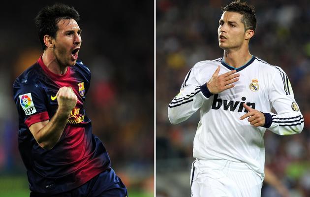 Montage photo de l'attaquant argentin Lionel Messi ( à gauche) et de l'attaquant portugais Cristiano Ronaldo (à droite), le 7 octobre 2012 à Barcelone [Lluis Gene / AFP/Archives]