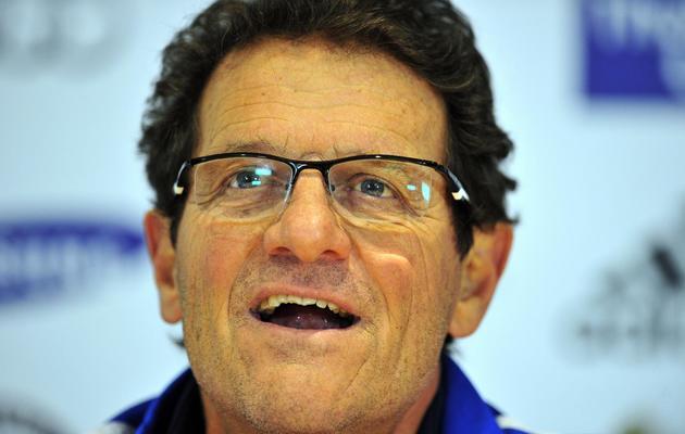 L'entraîneur italien Fabio Capello lors d'une conférence de presse le 24 mars 2013 à Londres [Glyn Kirk / AFP/Archives]