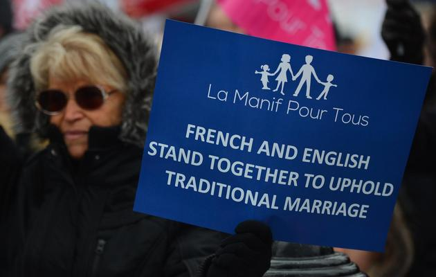 Une femme manifeste contre le mariage pour les couples homosexuels, le 24 mars 2013 à Londres [Ben Stansall / AFP/Archives]