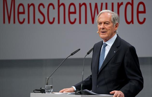 Le consultant financier Roland Berger réalise un discours, le 16 avril 2013 à Berlin [Tim Brakemeier / DPA/AFP/Archives]