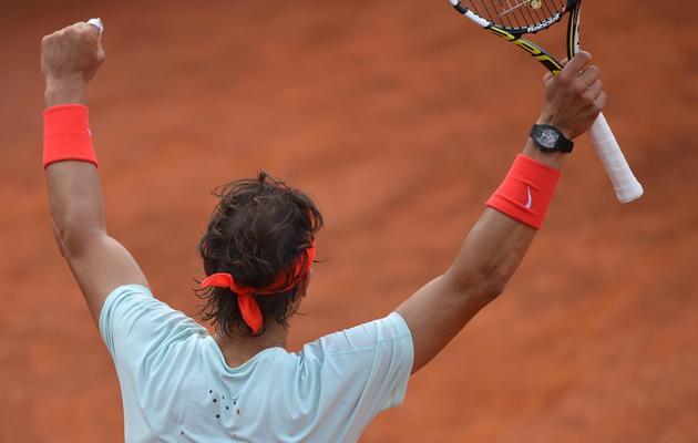 L'Espagnol Rafael Nadal, lors de sa victoire contre le Letton Ernests Gulbis, lors du tournoi de Rome, le 16 mai 2013 [Gabriel Bouys / AFP]
