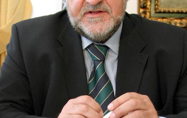 Le patron de la banque autrichienne Raiffeisen International (RBI), Herbert Stepic, le 15 avril 2004 à Tirana en Albanie [Gent Shkullaku / AFP/Archives]