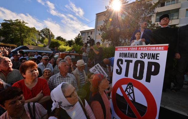 Vasile Laiu (d), prêtre orthodoxe de Barlad, manifeste contre le gaz de schiste, le 27 mai 2013 à Barlad en Roumanie [Daniel Mihailescu / AFP/Archives]