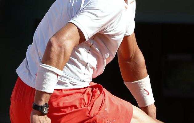 Rafael Nadal en demi-finale du tournoi de Roland-Garros contre Novak Djokovic le 7 juin 2013 à Paris [Thomas Coex / AFP]
