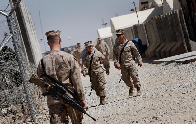 Des soldats sur base militaire britannique de Camp Bastion en Afghanistan, le 10 mars 2010 [Behrouz Mehri / AFP/Archives]