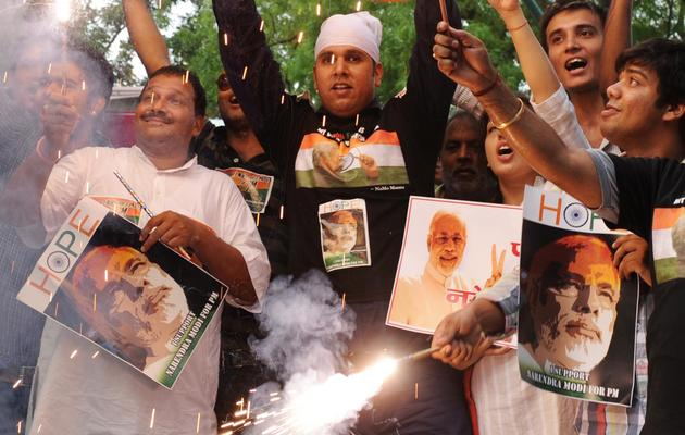 Des militants du parti conservateur indien, le BJP, à New Delhi, le 9 juin 2013 [Sajjad Hussain / AFP]
