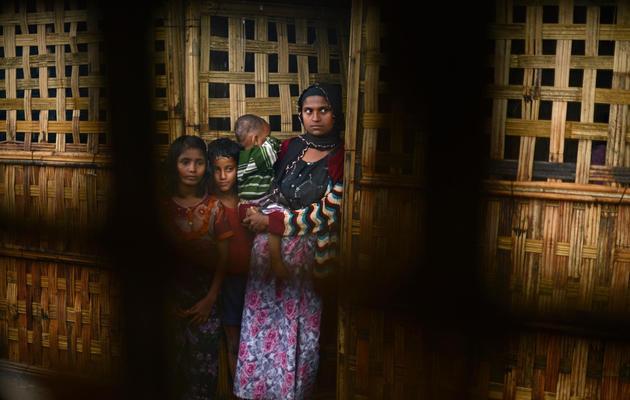 Des musulmans Rohingyas dans un camp pour personnes déplacées, le 11 octobre 2012 près de Sittwe, sur la côte birmane [Christophe Archambault / AFP/Archives]