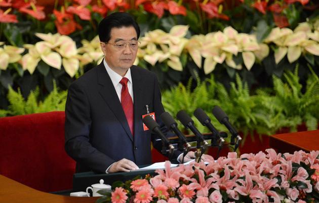 Le président chinois Hu Jintao, lors du 18e congrès du Parti communiste chinois, le 8 novembre 2012 à Pékin [Goh Chai Hin / AFP]