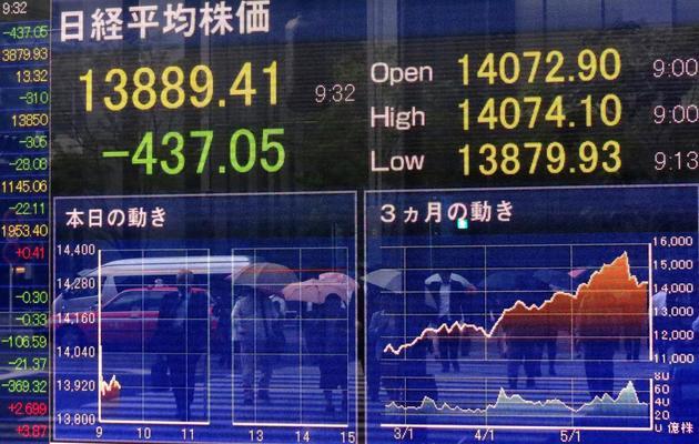 Un écran indique les chiffres de la Bourse de Tokyo, le 30 mai 2013 [Kazuhiro Nogi / AFP]