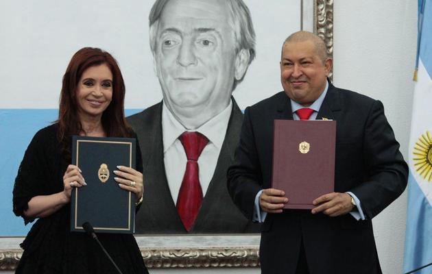 Cristina Fernandez de Kirchner et Hugo Chavez le 1er décembre 2011 [ / Presidencia/AFP/Archives]