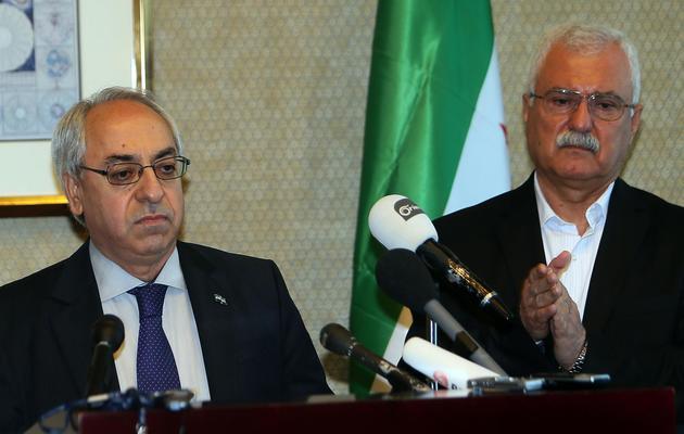 Abdel Basset Sayda et George Sabra le 10 novembre 2012 à Doha [Karim Jaafar / AFP/Archives]