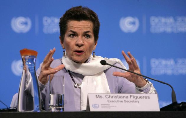 La responsable climat de l'ONU, Christiana Figueres, lors de la conférence sur le climat de Doha, le 30 novembre 2012 [Karim Jaafar / Al-Watan Doha/AFP/Archives]