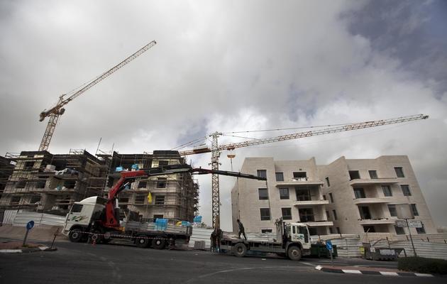 Un chantier immobilier en construction, le 20 décembre 2012 dans une colonie de Jérusalem-Est [Ahmad Gharabli / AFP]