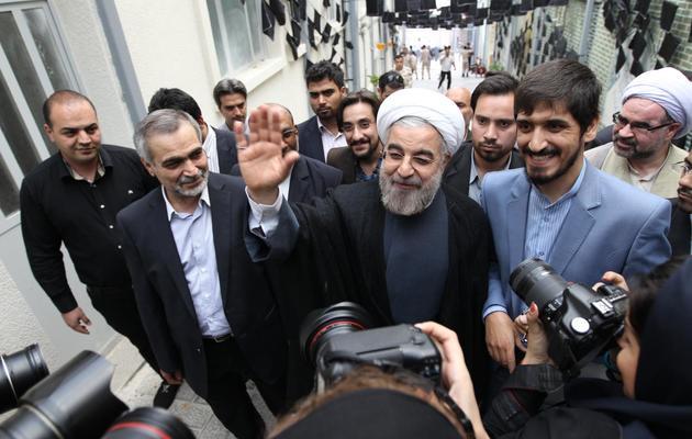 Hassan Rohani, conservateur modéré et ancien négociateur nucléaire, candidat à l'élection présidentielle iranienne, le 1er juin 2013 à Téhéran [Atta Kenare / AFP]