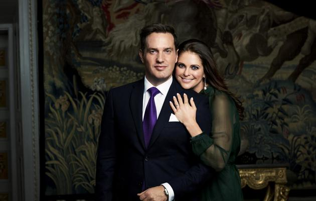Photo d'archives non datée de la princesse Madeleine et de son fiancé Christopher O' Neill [- / AFP]