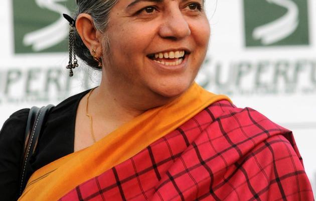 La physicienne indienne Vandana Shiva, prix Nobel alternatif 1993, le 24 juillet 2009 à Zwentendorf en Autriche [Samuel Kubani / AFP/Archives]