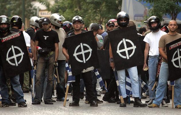 Rassemblement de militants du parti d'extrême droite Aube Dorée, à Athènes, le 17 septembre 2005 [Louisa Gouliamaki / AFP/Archives]