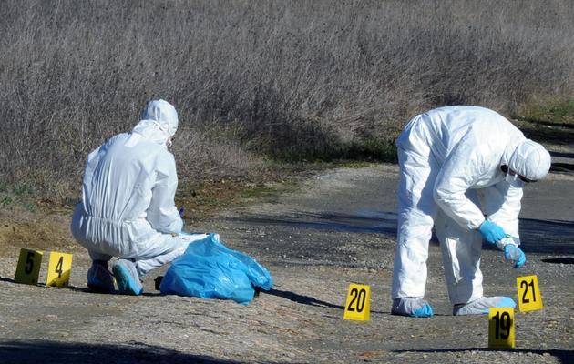 Des experts de la brigade scientifique font des relevés à l'endroit où ont été retrouvés les effets personnels de Patricia Bouchon, une joggeuse disparue, le 15 février 2011 [Pascal Pavani / AFP/Archives]