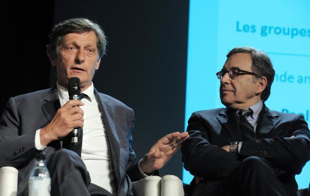 Les patrons de M6 et TF1 Nicolas de Tavernost (g) et Nonce Paolini à Paris le 25 juin 2012 [Eric Piermont / AFP/Archives]