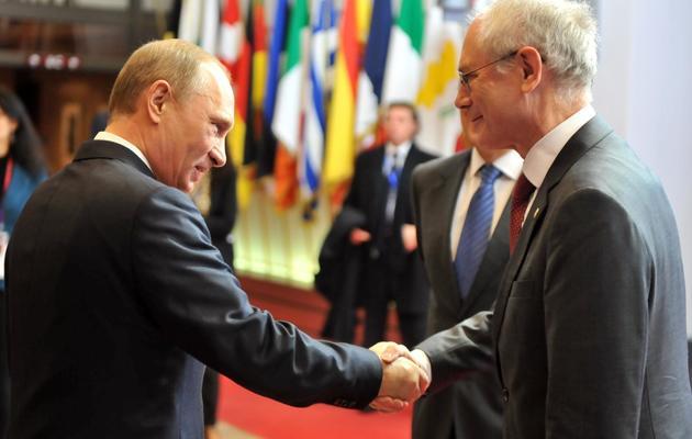 Le président russe Vladimir Poutine, le président de l'UE Herman Van Rompuy à Bruxelles le 21 décembre 2012 [Georges Gobet / AFP/Archives]