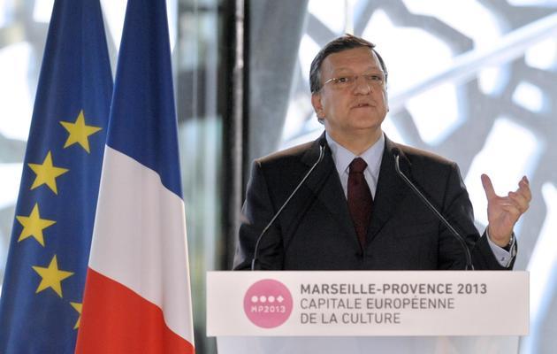 Jose Manuel Barroso célèbre le lancement de Marseille, capitale européeenne de la Culture 2013, le 12 janvier 2013 à Marseille [Franck Pennant / Commission européenne/AFP/Archives]