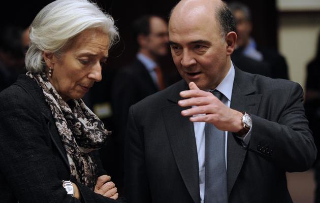 Le ministre de l'Economie Pierre Moscovici et la directrice générale du FMI Christine Lagarde à Bruxelles le 24 mars 2013 [John Thys / AFP/Archives]