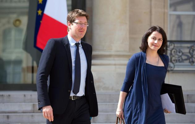 Les deux ministres EELV Cécile Duflot (Logement) et Pascal Canfin (Développement) le 17 avril 2013 à Paris [Bertrand Langlois / AFP/Archives]