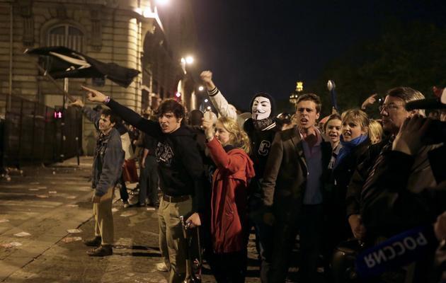 Des militants contre le mariage homosexuel manifestent à Paris, devant l'Assemblée nationale, le 23 arvil 2013 [Kenzo Tribouillard / AFP/Archives]