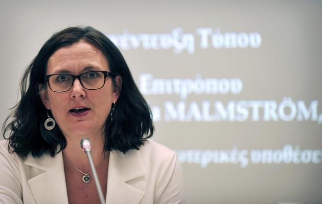 La commissaire européenne aux Affaires intérieures, Cecilia Malmström, le 14 mai 2013 à Athènes [Louisa Gouliamaki / AFP/Archives]