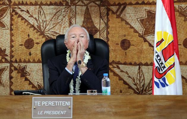 Le président polynésien Gaston Flosse, le 16 mai 2013 à Papeete [Gregory Boissy / AFP]