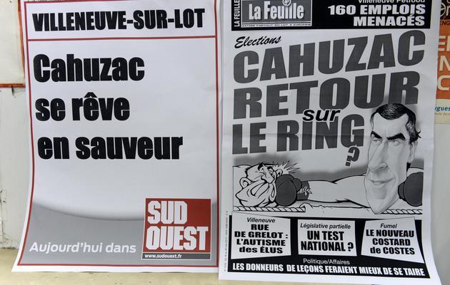 Deux Unes de journaux locaux, le 17 mai 2013 à Villeneuve-sur-Lot dans le Lot-et-Garonne [Jean Pierre Muller / AFP/Archives]