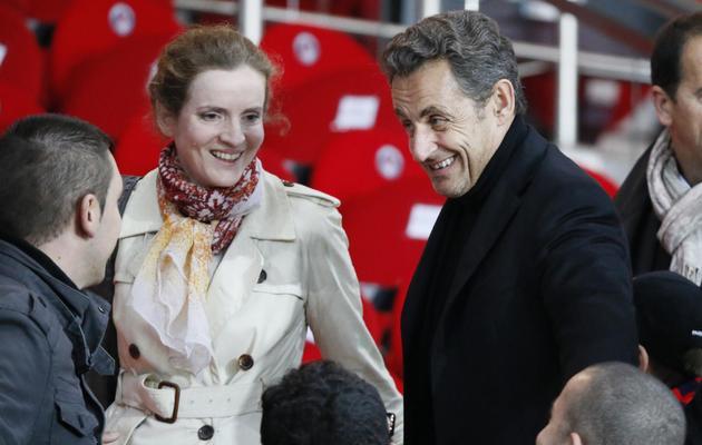 Nathalie Kosciusko-Morizet, le 18 mai 2013, auprès de Nicolas Sarkozy au Parc des Princes [Kenzo Tribouillard / AFP]