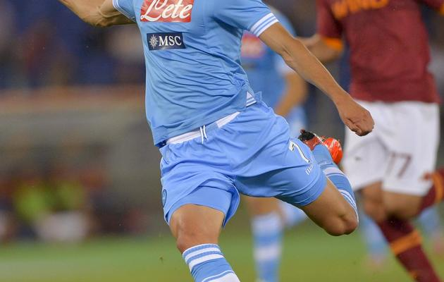 Le Napolitain Edinson Cavani, lors d'un match contre l'AS Rome, le 19 mai 2013 à Rome [Andreas Solaro / AFP]