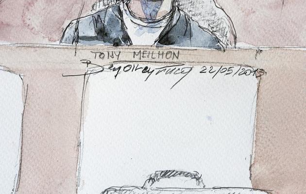 Un croquis représentant Tony Meilhon lors de son procès, le 22 mai 2013 au palais de justice de Nantes [Benoit Peyrucq / AFP/Archives]