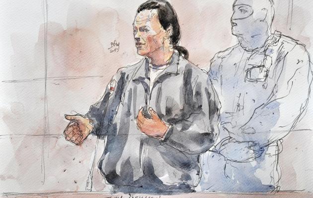 Croquis d'audience de Tony Meilhon lors de son procès à Nantes, le 22 mai 2013 [Benoit Peyrucq / AFP]