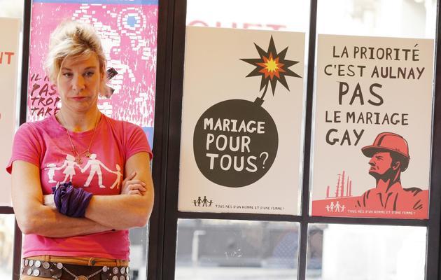 Frigide Barjot, la très médiatique militante contre le mariage pour tous, le 20 mars 2013 à Paris [Francois Guillot / AFP]