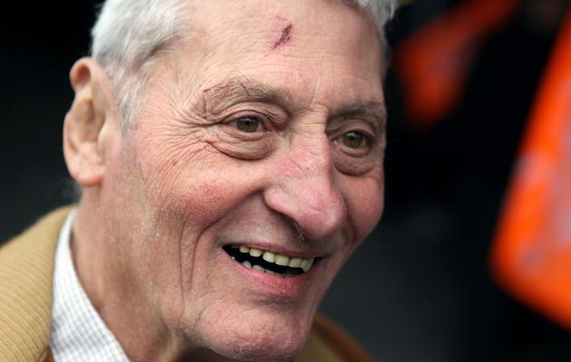 René Lebouvier, qui demande l'effacement de son baptêùe des registres paroissiaux, le 28 mai 2013 à la Cour d'appel de Caen [Charly Triballeau / AFP]